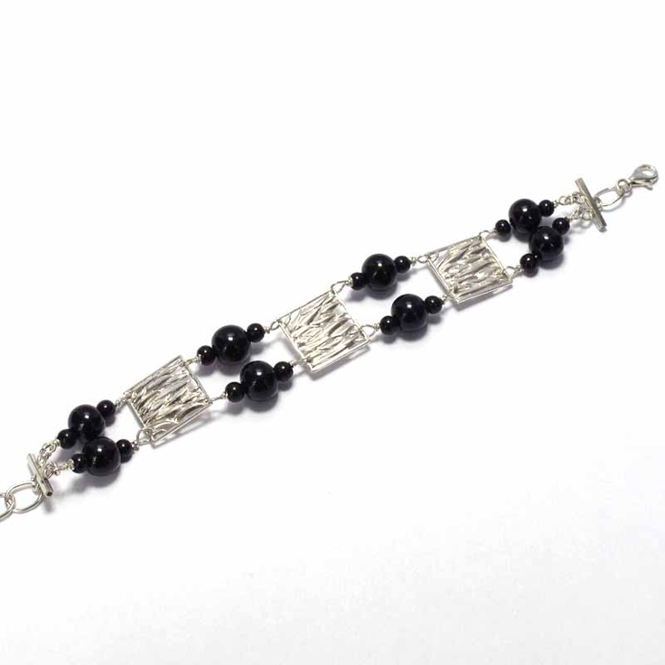 Silver bracelet and jet craft, handmade using traditional methods. Artcraft of The Way of Saint James. Tax free $119.00