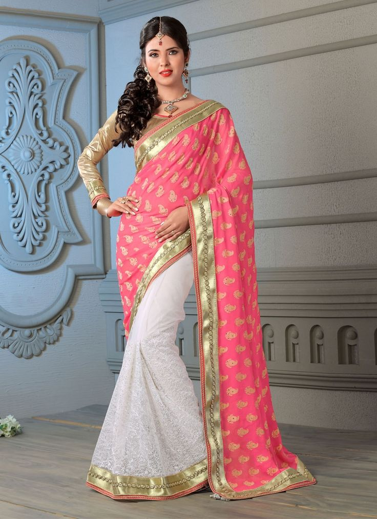 Net Pink and Off White Casual half n half Saree