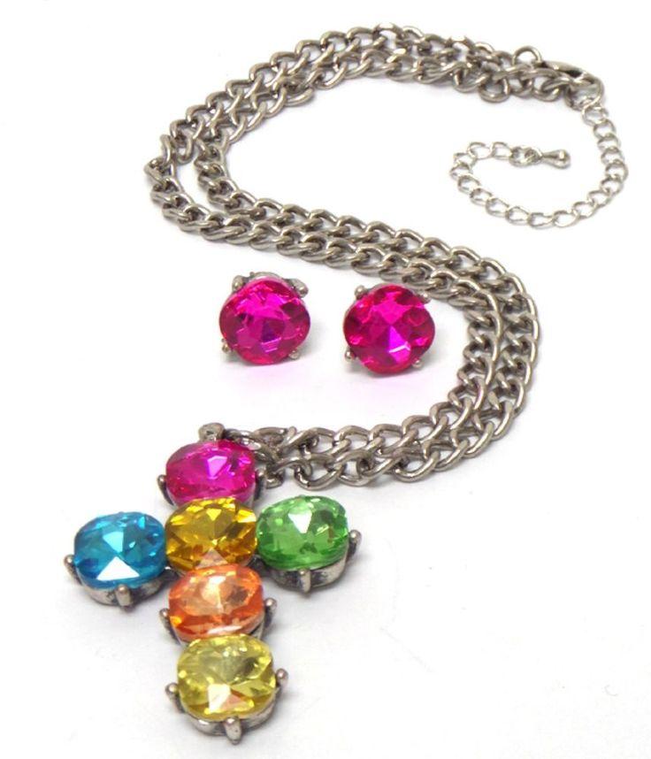 Multi Coloured Khloe Crystal CROSS Silver Chain Pendant Necklace Earrings Set UK