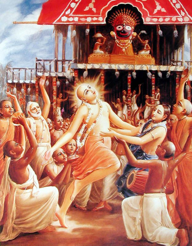 Hindu Art: Caitanya dances for Ratha-yatra cart