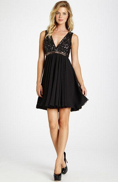 Dress the Population 'Juliette' Sequin Chiffon Fit & Flare Dress available at #Nordstrom