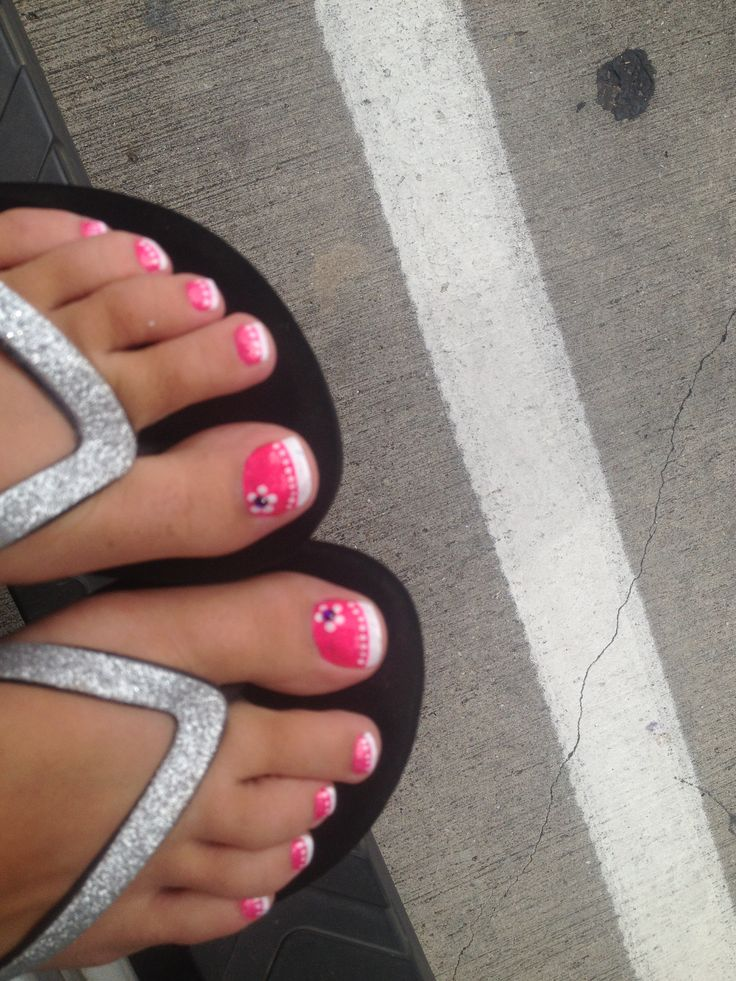 Pink and white french style toes. Cute for summer.