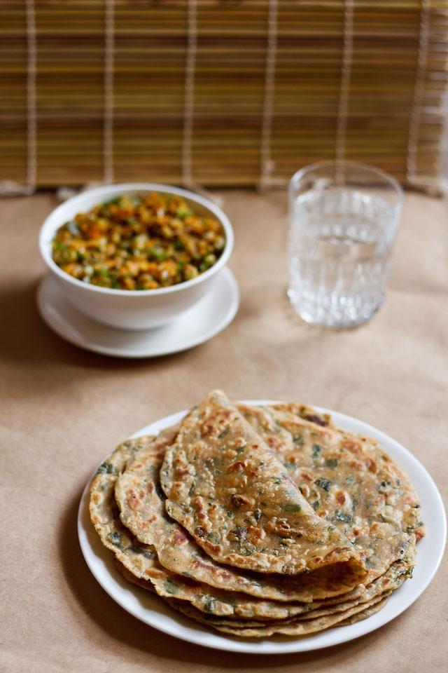 methi paratha: whole wheat fresh fenugreek flat bread