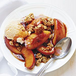 Easy Peach Crisp Recipe, using crisp granola and in-season peaches.  How easy is that?