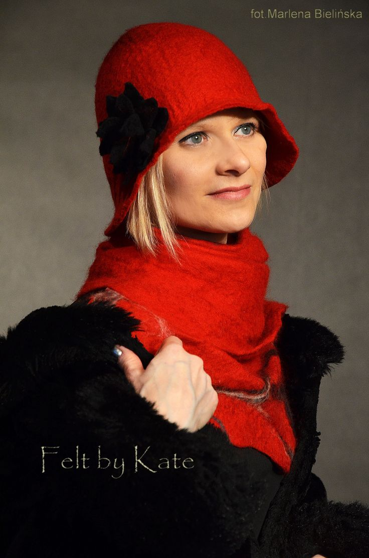 "Merino wool wet felted stylish red hat and scarf - ""Felt by Kate ""https://www.facebook.com/FeltbyKate/"
