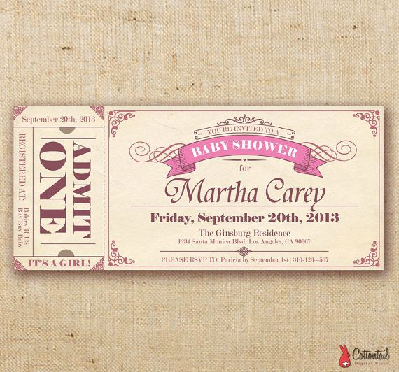13 best boarding pass invitations images on pinterest boarding pink ticket baby shower invitation diy digital by cottontailpress filmwisefo