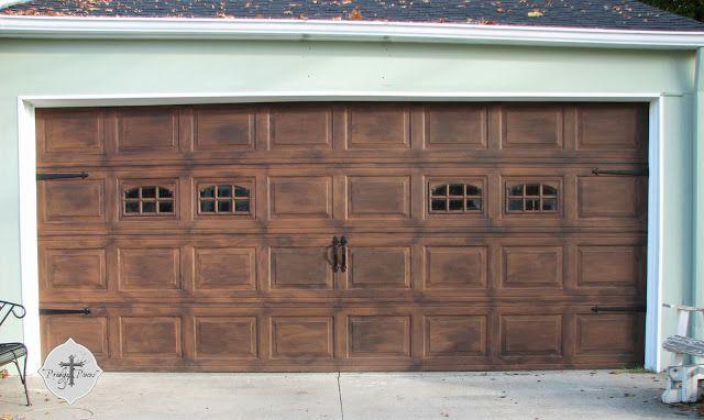 Prodigal Pieces faux finish wood garage door.