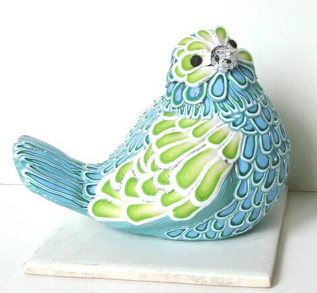 GreenWing BlueBird by PAMELA CARMAN   Polymer Clay Planet