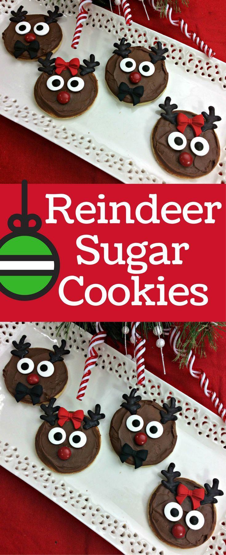 holiday sugar cookies decorated for kids- easy reindeer sugar cookies with frosting #holidaysugarcookies #sugarcookies