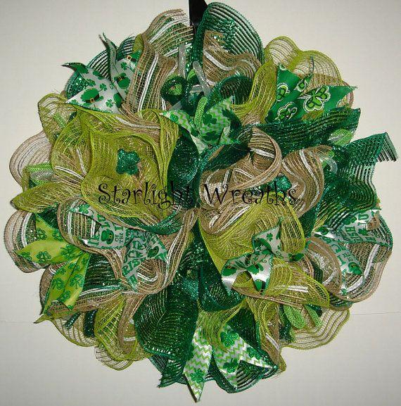 Ruffled Saint Patricks Day Burlap Mesh Wreath by StarlightWreaths  Trendy Tree Custom Designer ...