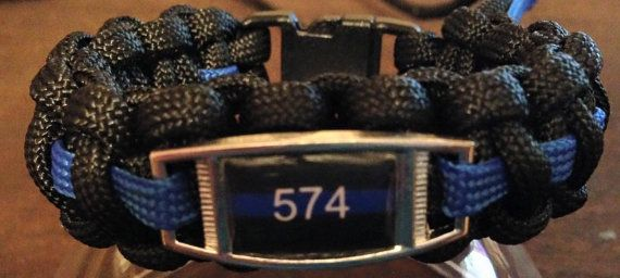 Thin Blue Line Paracord with police number by sweetnsassycandles
