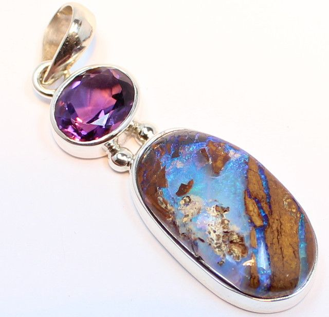 33.60 CTS BOULDER OPAL PENDANT STERLING SILVER 925+AMETHYST A9489