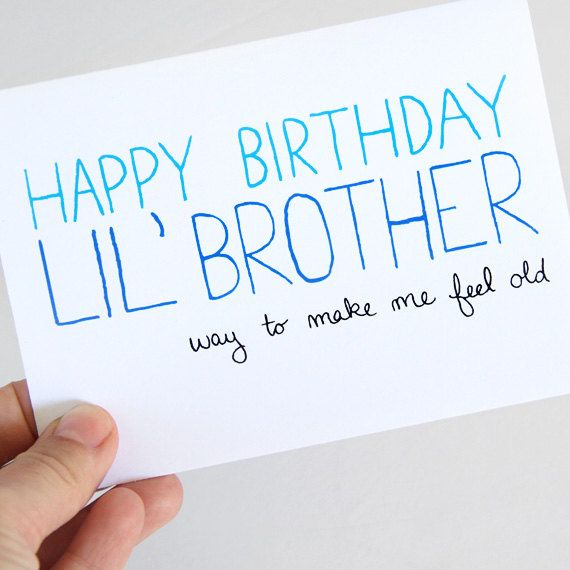 Little Brother Birthday Card. Birthday Card For Brother. Blue Text on White Card. Folded, Blank Card.. $4.00, via Etsy.