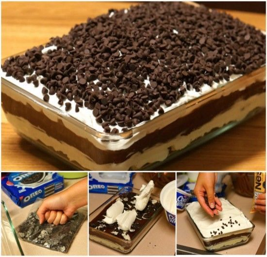 You'll Need!  36 Oreo cookies  6 tablespoons butter, melted  1 (8 ounce) package cream cheese, softened  1⁄4 cup granulated sugar  2 tablespoons milk, cold  1 (12 ounce) container Cool Whip, divided  2 (4 ounce) packages chocolate instant pudding  3 1⁄4 cups milk, cold  1
