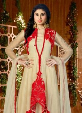 Prodigious Cream And Red Net Embroidered Anarkali Suit With Koti #salearkameez #indian #trendy #red #bridal#bollewood #party wear #traditional#online #mangosurat#style #boutiques #shopping #fashion #modal #social #branding #sales #marketing #business #discount #deal #success #ethnic #creation #embroidery #classic #cloth #clothing #bridal wear#jardoshi #work #chiffon #acteress #navel #desi #new #woman fashion #designersuit #bridal