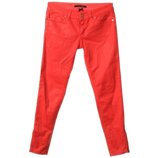 Pre-owned Jeans in red ($75) ❤ liked on Polyvore featuring jeans, red, bib overalls, 5 pocket jeans, tie-dye jeans, red jeans and tapered jeans