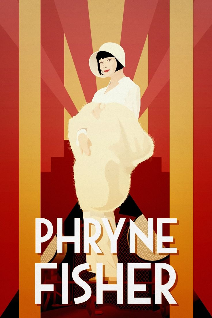 Well-adapted poster version of a publicity still from Miss Fisher's Murder Mysteries, set in Twenties Melbourne, Australia