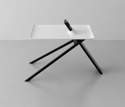 The Tripod Side Table by Noon Studio...and more of what I call 'non heavy' furniture can be found here, even Shaker furniture. ...http://www.pinterest.com/agustindelagarz/mobel-design/