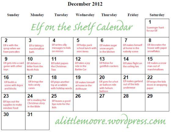 Elf on the Shelf ideas 2012 calendar