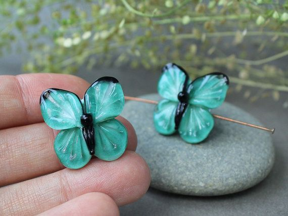 Handmade Lampwork Butterfly, Butterfly, Handmade Artisan Glass Beads, Lampwork…