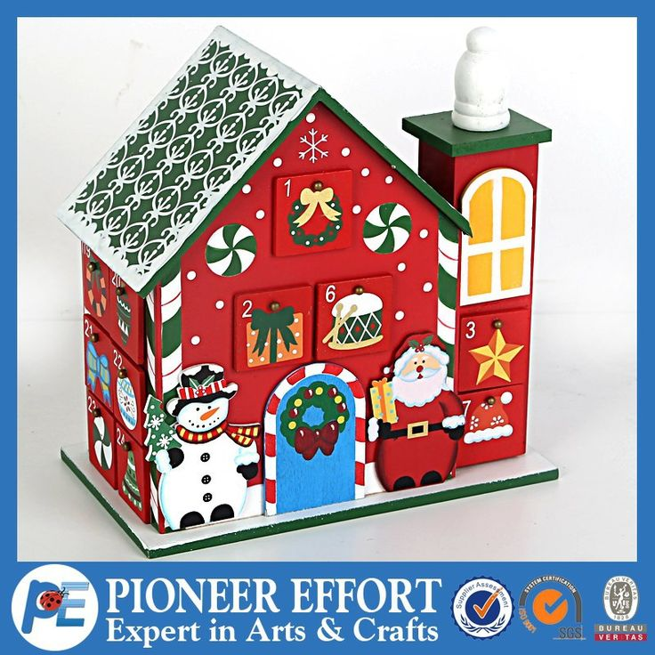 new arrival! wooden Christmas advent calendar house with chimney