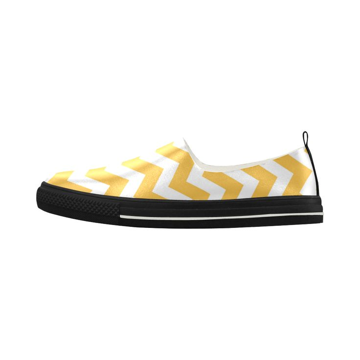 Mans vintage zig-zag Yellow and White 60s edition of Shoes. With elegant black. Apus Slip-on Microfiber Women's Shoes(Model 021).Original Mans Shoes in 70s style. Original zig-zag artistic design. Only in our Designers shop!