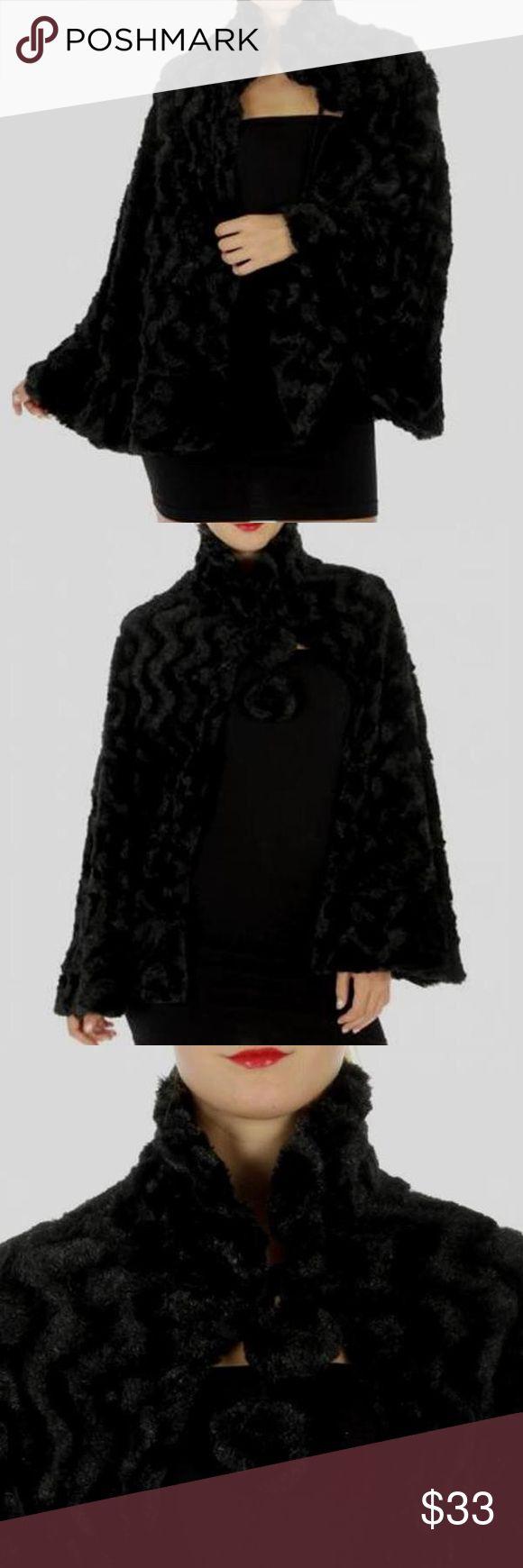 Faux fur bolero wrap cape Black faux fur bolero wrap cape. Polyester. One size. Jackets & Coats Capes