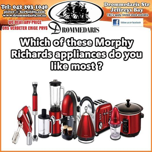 Here is a Tuesday teaser for you. Which of these Morphy Richards appliances would you use most or which would you like in your home? Drommedaris brings you the biggest variety at unbeatable prices. #homeimprovement #homedecor #lifestyle