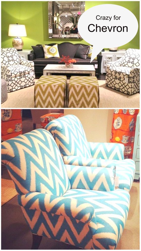 Love the green hassocks and blue chairs.          Chevron Patterns High Point Market 2012