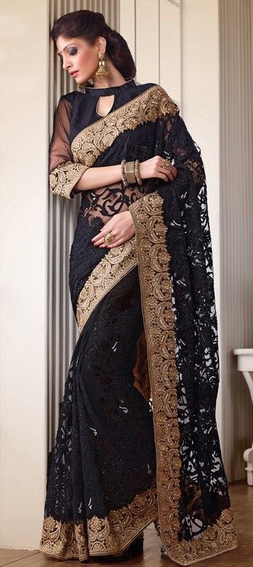 156789:BLACK MAGIC - wear the master black color on festive occasion and spill your magic all around.  #saree #Partywear #lace #wedding #indianfashion #onlineshopping
