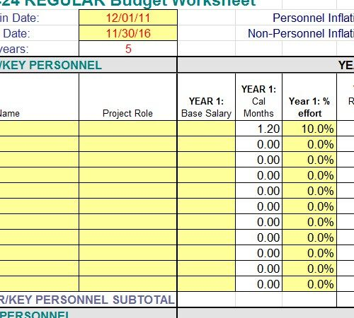 Employee Payroll Budget Worksheet Template -