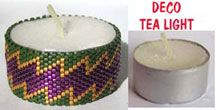 DECO BEADED TEA LIGHT COVER by Suzanne Cooper