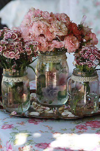 I like the look of these mason jars, a wonderful mix of romantic and rustic