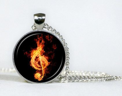 Fiery Treble Clef pendant. Necklace. Jewellery. Necklace pendant. Gifts for her. Gifts for him. Amulet for musicians.