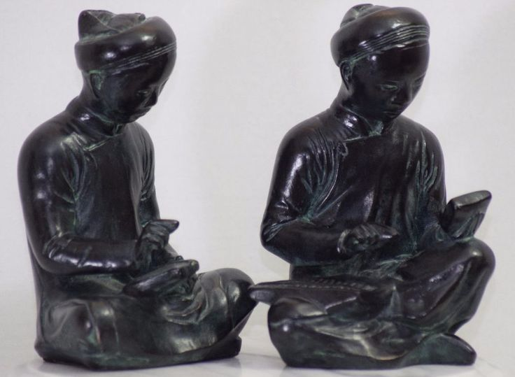 MID CENTURY 1961 AUSTIN PRODUCTIONS CHINESE SCHOLARS ASIAN SCULPTURES STATUES #Asian