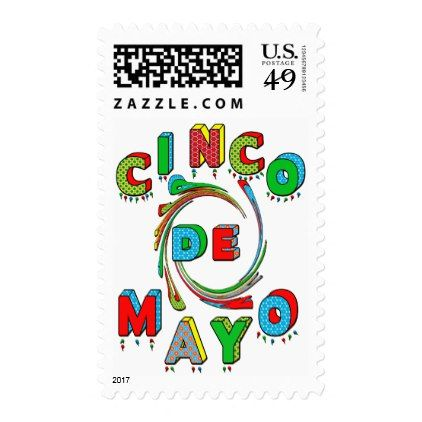 Cinco de Mayo Postage Stamp - Colorful Text - fun gifts funny diy customize personal