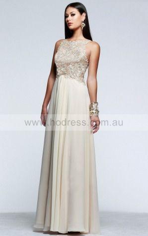 Sleeveless Backless Jewel Floor-length Chiffon Evening Dresses claa1161--Hodress
