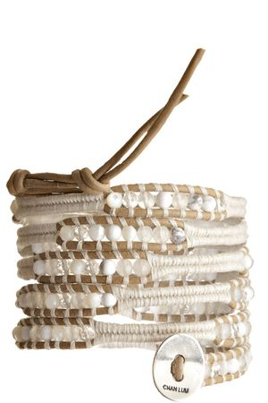 """White Mix Wrap Bracelet  by CHAN LUU; $190.00; 5 wrap bracelet with white mix semi precious stones  strung on beach colored leather with ivory contrasting cord  sterling silver designer engraved button with 3 adjustable closures  adjusts to 32"""", 33"""" or 34"""" in length  handcrafted in vietnam"""