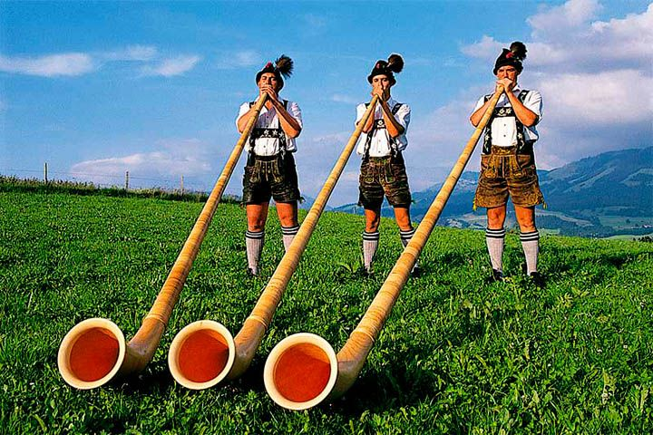 The alphorn, alpenhorn or alpine horn is mostly associated with Switzerland and the Alps, but similar wooden horns have been used in most of Europe's mountainous regions over the centuries