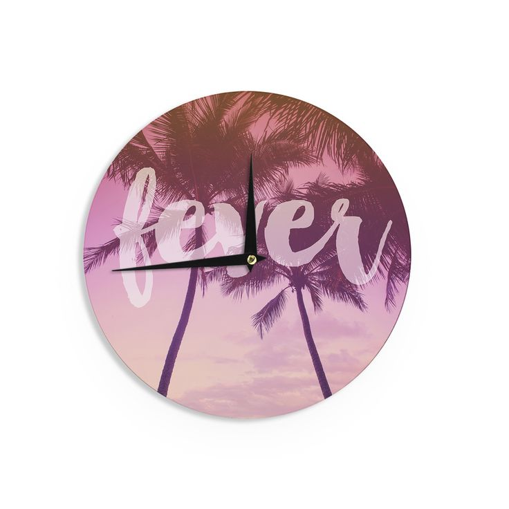 "Catherine McDonald ""Fever"" Pink Red Wall Clock"