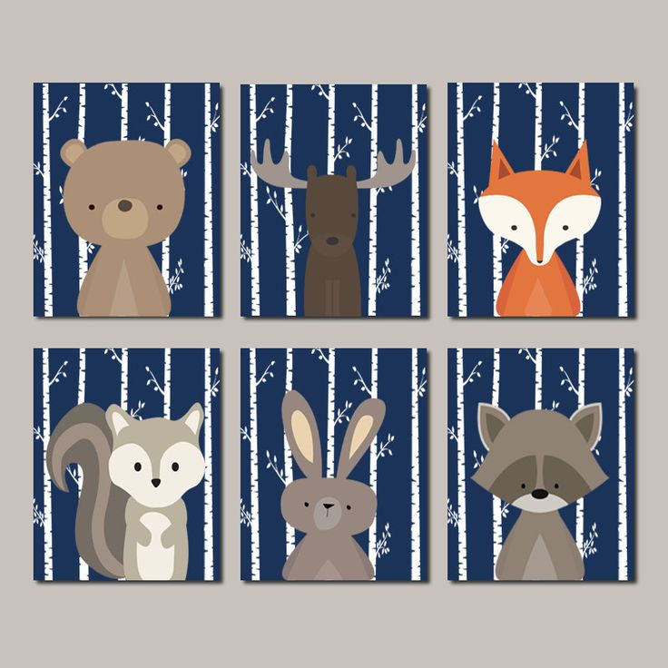 Boy Nursery Art WOODLAND Nursery Art Woodland Animals Nursery Decor Woodland Baby Shower Navy Set Of 6 Prints Of Canvas by LovelyFaceDesigns on Etsy