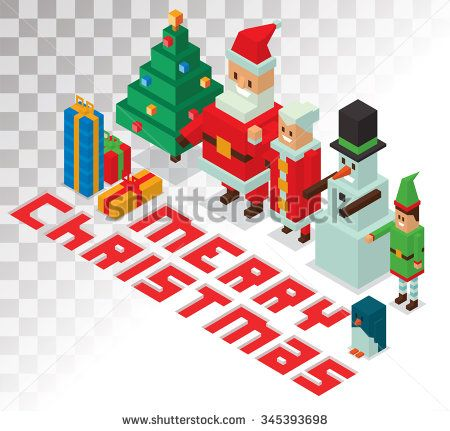 Santa Claus, Missus Claus, helpers family isometric 3d  icons vector illustration. Santa Claus, Missus Claus, deer, snowman, elf boy cartoon. Christmas 3d pixel art traditional costume Santa Claus