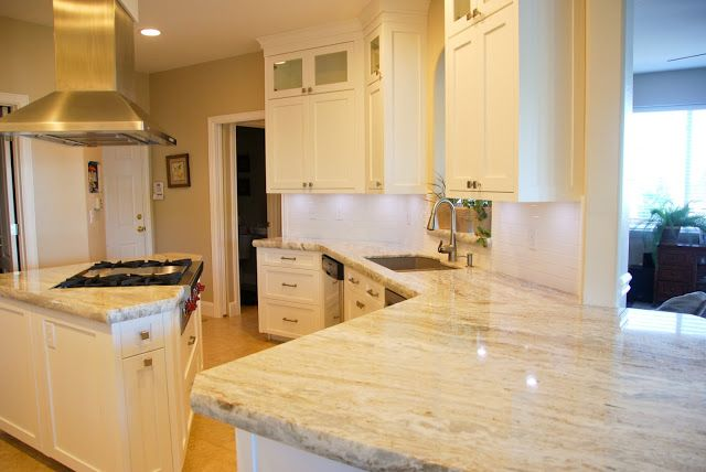 Best Brown Granite White Shaker Cabinets And Granite Kitchen 400 x 300