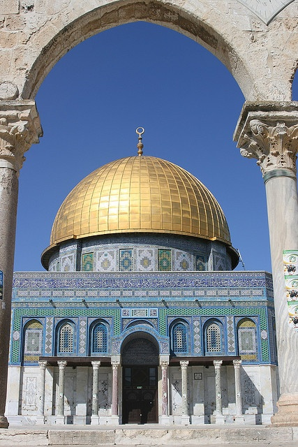 Dome of the rock, Jerusalem, Israel This is significant because this is where Muhammad died. This is also where they say he descended to heaven. This still stands today.