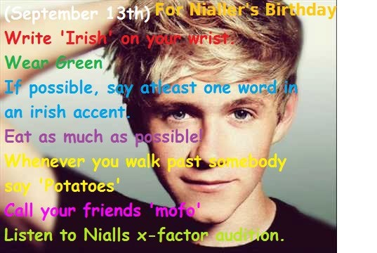 Niall's Birthday Challenge!! I'll do it! But instead of Irish I will put niall! Comment if you will do that instead too!