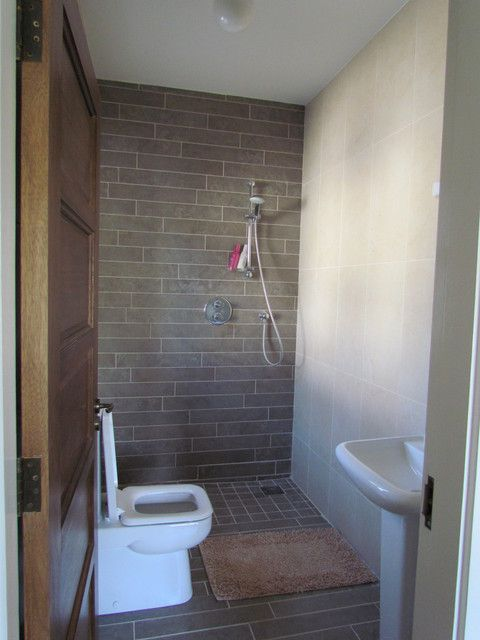 I wonder why we need shower doors and want to consider leaving it off the master bath--european shower / no door, to make tiny bathroom feel bigger