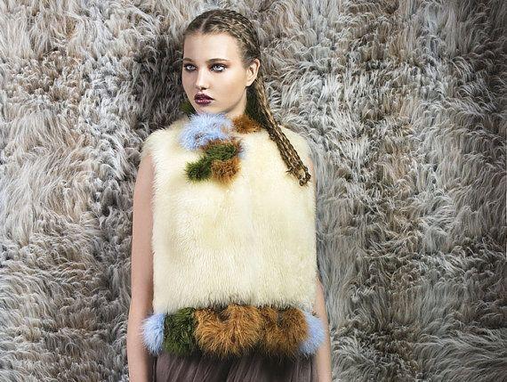 Lamb fur vest off white moss green rust blue marabou boa applique NATI100%PUREIDEA