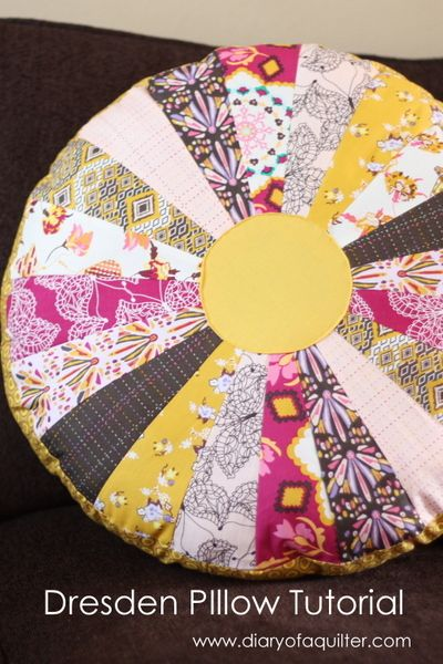 Fat Quarter Gang Tutorial - Dresden Pillow Poof by Diary of a Quilter