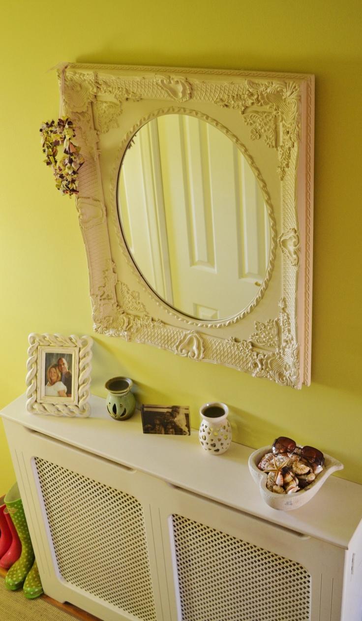 My mirror and handmade storage heater cover make the hallway more elegant