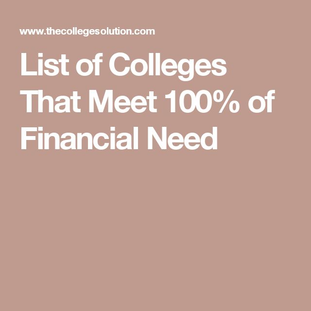 List of Colleges That Meet 100% of Financial Need